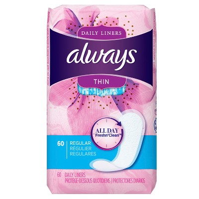 Always Thin Dailies Unscented Wrapped Pantiliners - 60ct