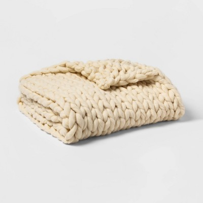 Extra Chunky Knit Throw Blanket White - Threshold™