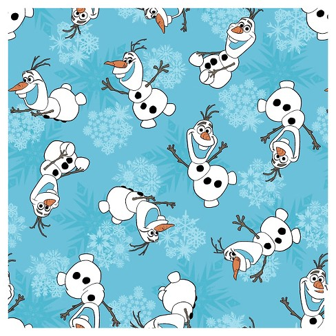 """Disney Frozen Olaf Snowflakes, Turquoise, Corduroy, 43/44"""" Width, Fabric by the Yard - image 1 of 1"""