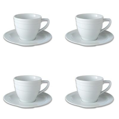 BergHOFF Essentials 8.6Oz Porcelain Teacup & Saucers, Set of 4