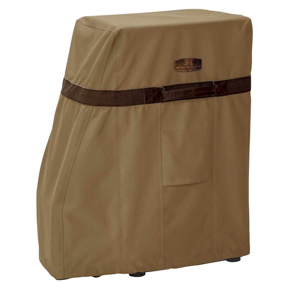 Hickory Square Smoker Cover - Tan, Brown If you live in an area where you can't smoke meats year-round, or just don't want your outdoor appliances exposed to the elements all the time, you should invest in a cover. The Hickory Square Smoker Cover from Classic Accessories is a high-quality outdoor smoker cover that will keep your appliances secure and unharmed. The crack- and water-resistant smoker cover shuts out snow and rain, in addition to wind, with unique side vents that keep the cover from blowing up in strong winds. Adjustable hem cord, straps and handles let you find the best fit to keep your meat smoker protected when not in use. Color: Brown.