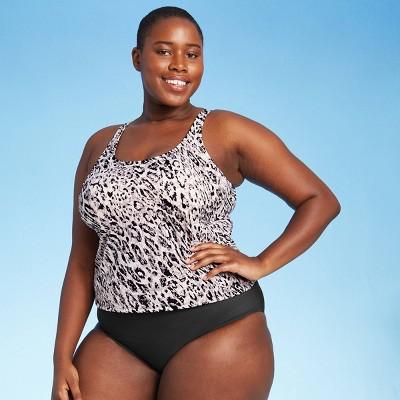 Women's Plus Size Twist Back Tankini Top - All in Motion™ Cream Animal Print