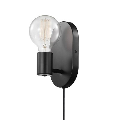 Linus 1-Light Matte Black Plug-In or Hardwire Wall Sconce - Novogratz x Globe