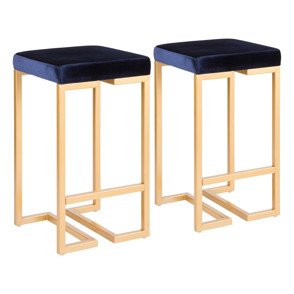 Midas 26 In Contemporary Counter Stool Gold with Blue Velvet Cushion (Set of 2) - Lumisource