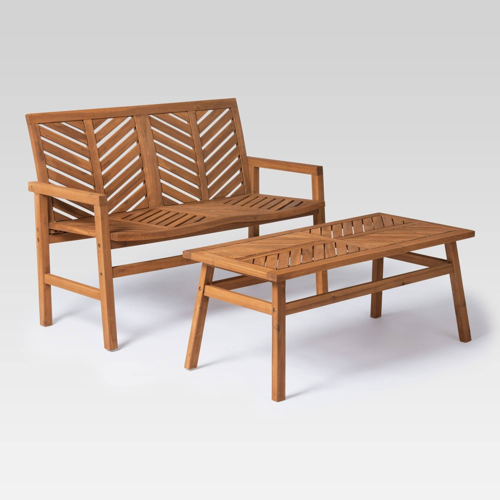 Image of 2pc Chevron Outdoor Patio Chat Set - Brown - Saracina Home
