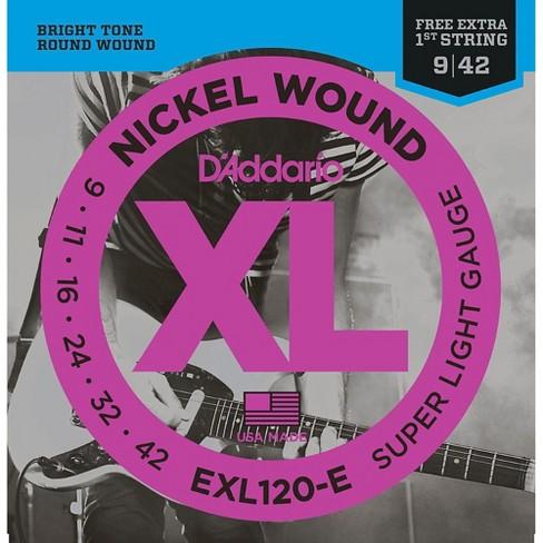 D'Addario EXL120-E Bonus Pack: Super Light Electric Guitar Strings with Bonus High E String (9-42) - image 1 of 4