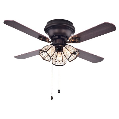 Warehouse Of Tiffany - 21 X 13 X 11 Inch Black Espresso Lighted Ceiling Fans - image 1 of 4