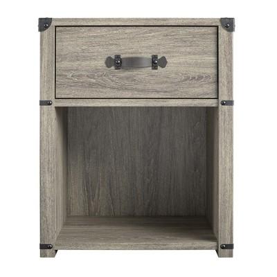 Nova 1 Drawer Storage Nightstand – Grey Oak