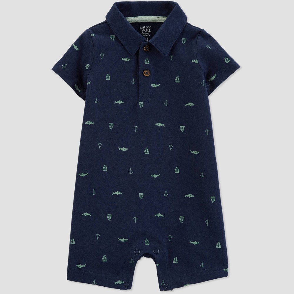Baby Boys' Shark and Ship Romper - Just One You made by carter's Navy Blue Newborn