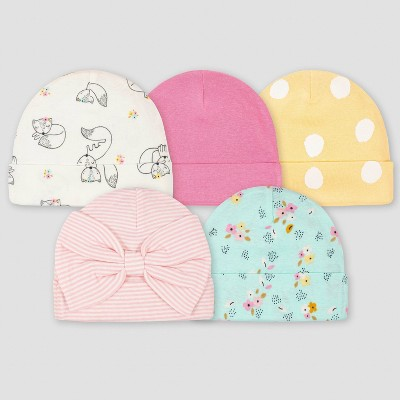 Gerber Baby Girls' 5pk Fox Caps - Pink