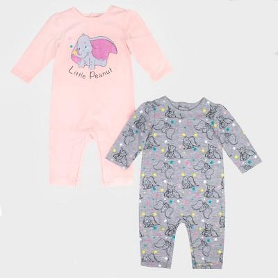 Baby Girls' 2pk Disney Dumbo Long Sleeve Romper Set - Pink/Gray Newborn