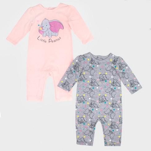 34e46c64f Baby Girls  2pk Disney Dumbo Long Sleeve Romper Set - Pink Gray   Target
