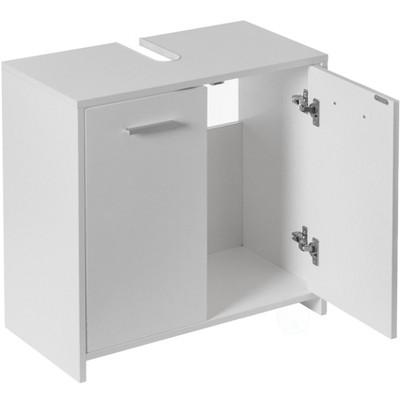Basicwise Sink Base Bathroom Vanity Cabinet 2-Door Organizer, Kitchen Storage Cabinet, White