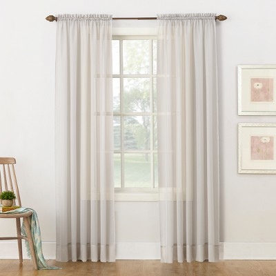 """84""""x59"""" Emily Sheer Voile Rod Pocket Curtain Panel Silver - No. 918"""
