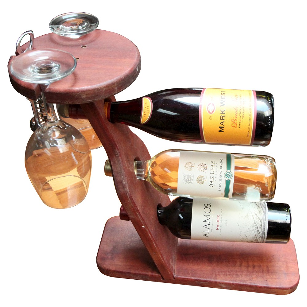 Table Top 17 Wine Rack Western Clear Oil Finish - Red Ced...