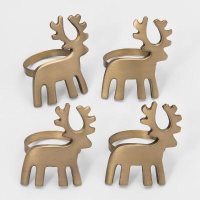 4ct Reindeer Napkin Rings Gold - Threshold™