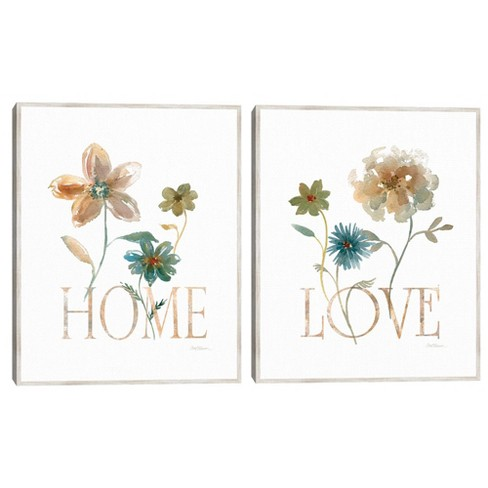 Set of 2 Simple Home & Love By Carol Robinson Framed Canvas Art Prints - Masterpiece Art Gallery - image 1 of 4