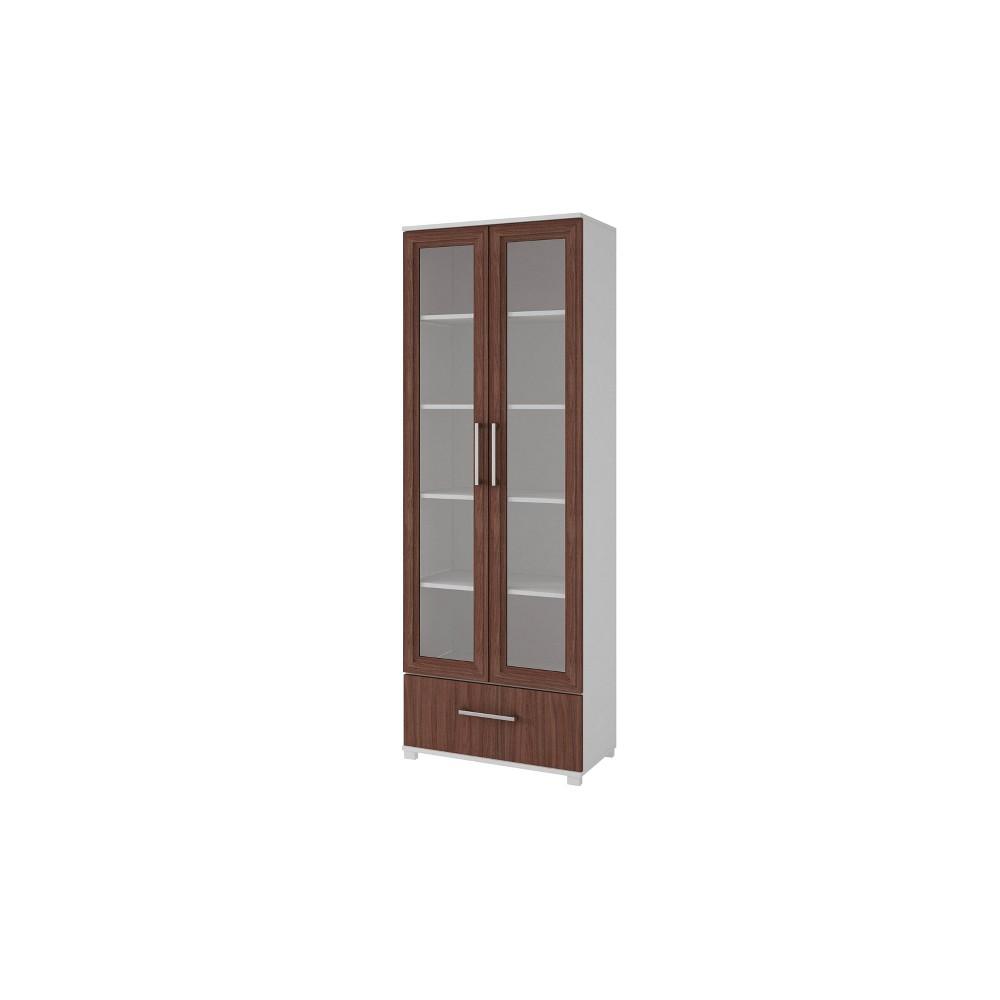 Serra 1.0 5 Shelf Bookcase Nut Brown/White - Manhattan Comfort