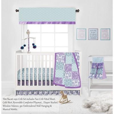Bacati - Paisley Isabella Purple Lilac Aqua 10 pc Crib Bedding Set with 2 Crib Fitted Sheets