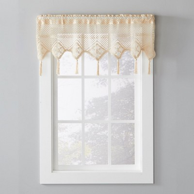 """Saturday Knight Ltd Fleetwood Crochet Look Window Valance With Rod Pocket - 49""""x14"""" in Natural Color"""