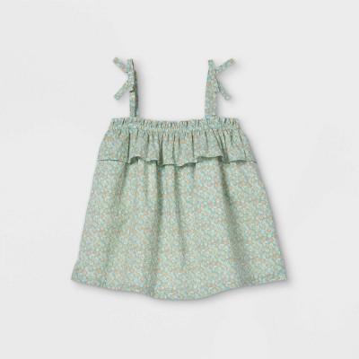 OshKosh B'gosh Toddler Girls' Floral Ruffle Tank Top - Blue
