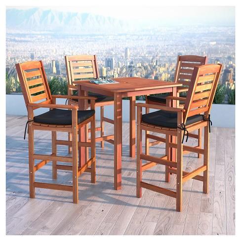 Miramar 5pc Square Wood Patio Bar Height Dining Set Cinnamon Brown