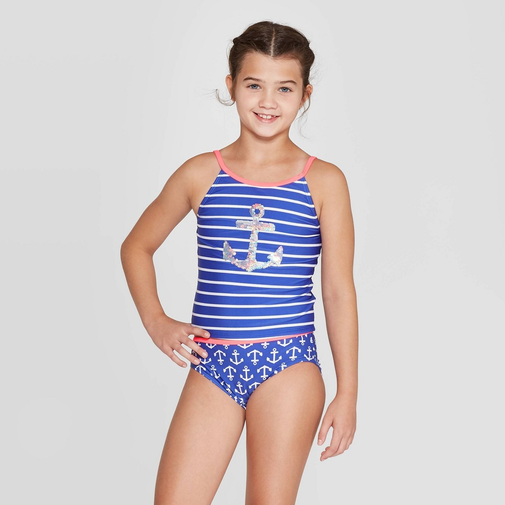 Image of Girls' Anchors Down Flip Sequin Tankini Set - Cat & Jack Blue L, Girl's, Size: Large