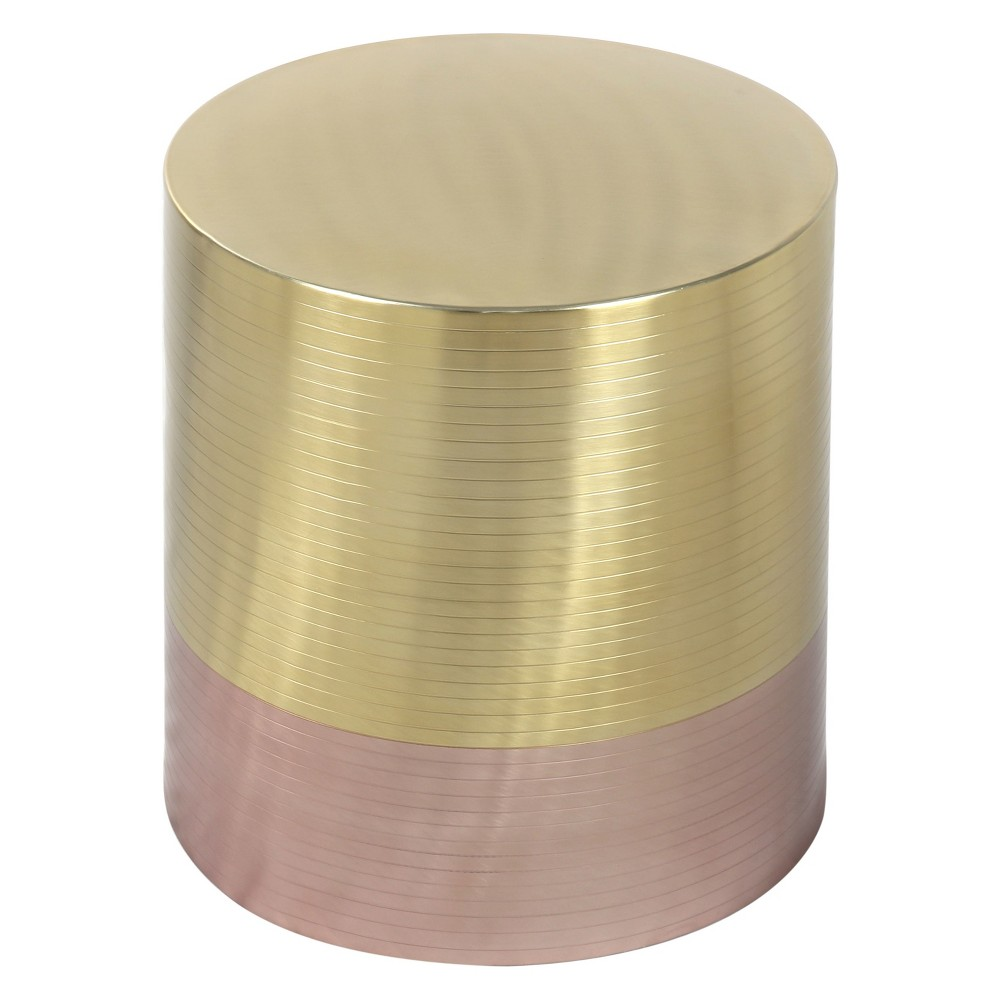 "Image of ""16"""" Luxe Drum Accent Table Gold/Rose Gold - ZM Home, Gold Pink"""