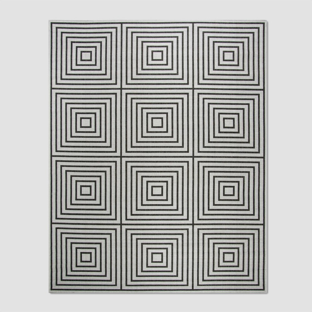 7'10 x 10' Janetta Outdoor Rug Light Gray/Charcoal - Safavieh