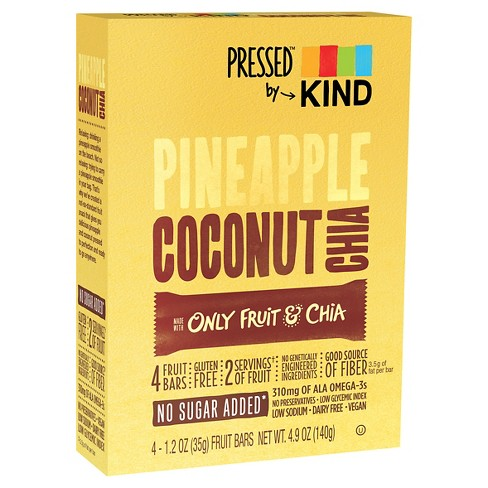 Pressed By Kind Pineapple Coconut Chia Fruit Bar- 4ct- 4.9oz - image 1 of 1