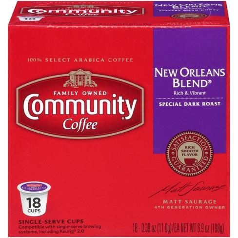 Community Coffee New Orleans Blend Dark Roast - Keurig K-Cup Brewer Compatible Pods - 18ct - image 1 of 4