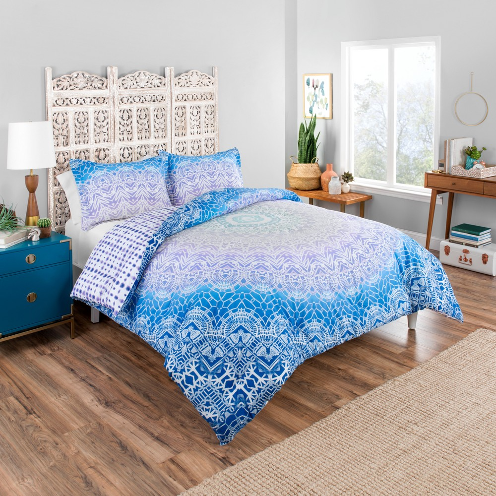 Image of Blue Sundial Reversible Comforter Set (King) 3pc - Boho Boutique