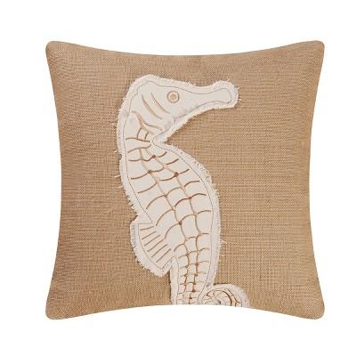 "C&F Home 18"" x 18"" Seahorse Burlap Pillow"