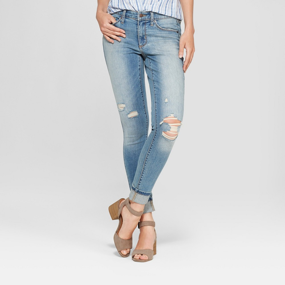 Women's Mid-Rise Destructed Skinny Jeans - Universal Thread Medium Wash 14, Blue