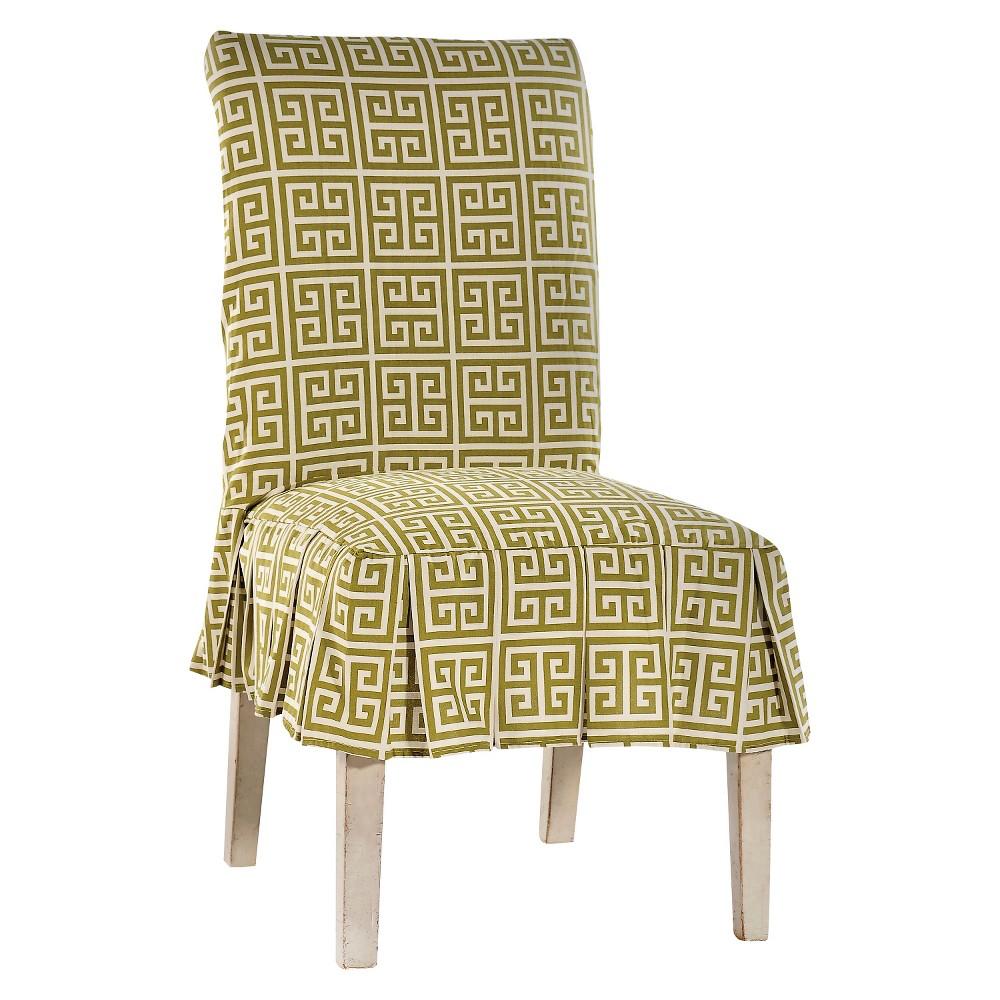 Green Roman Key Dining Chair Slipcover