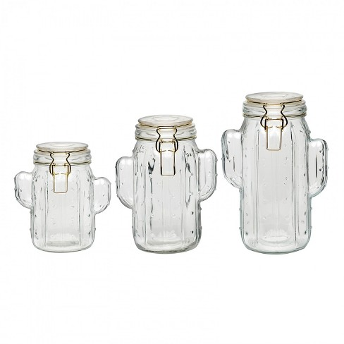 Amici Home Saguaro Clear/Gold 40-48 & 52 oz Glass Storage Canisters, Set of 3 - image 1 of 4