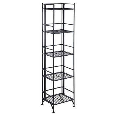 "57.75"" 5 Tier Folding Metal Shelf Black - Breighton Home"