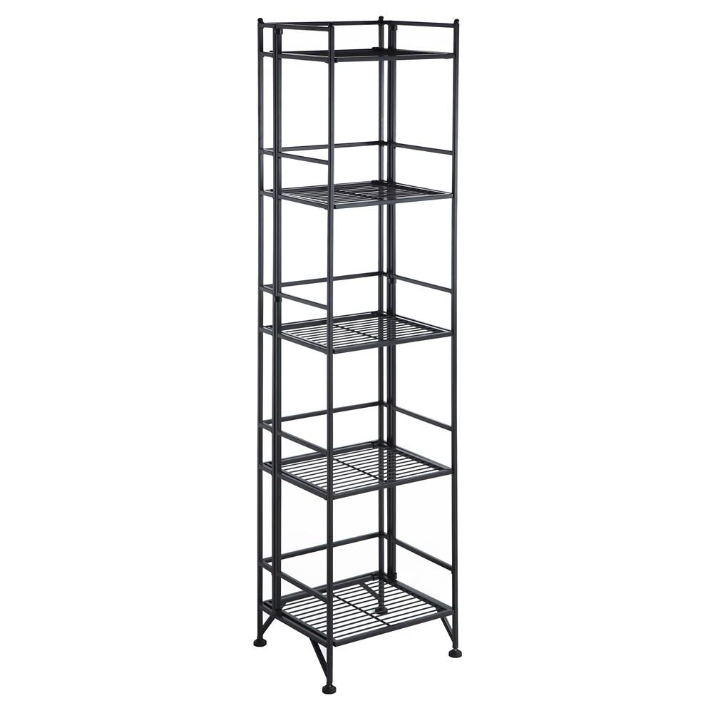 Best Price 5763 5 Tier Folding Metal Shelf Convenience Concepts Black