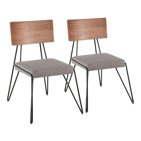 Set of 2 Loft Mid Century Modern Chairs Gray/Black - Lumisource - image 1 of 4