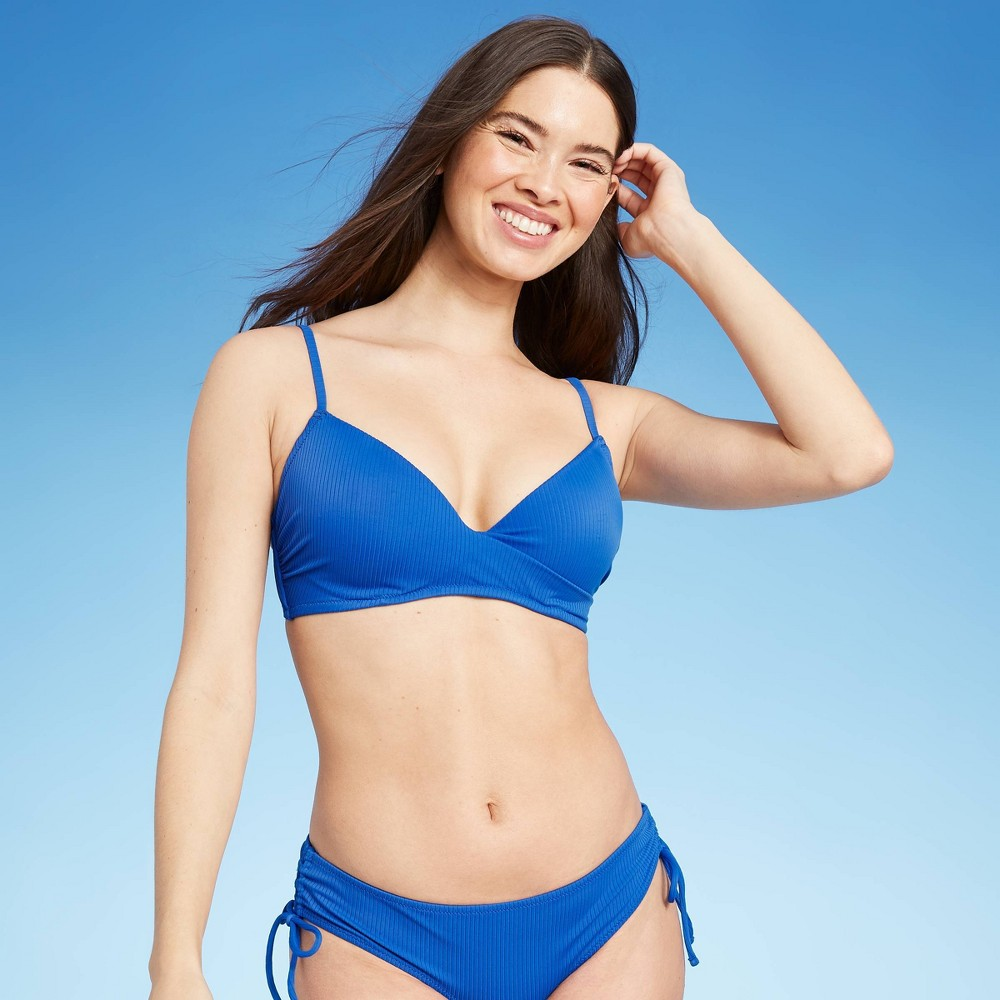 Women 39 S Lightly Lined Ribbed Wrap Front Bikini Top Shade 38 Shore 8482 Sapphire Blue 38dd