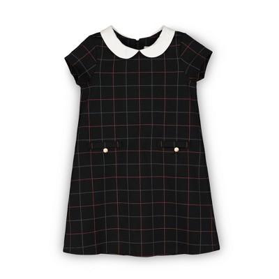 Hope & Henry Girls' Short Sleeve Ponte A-Line Dress, Toddler