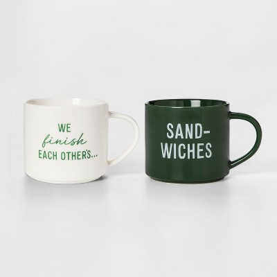 16oz 2pk We Finish Each Other's Sand-wiches Mug Set White/Green - Room Essentials™