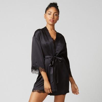Journelle Women's Charlotte Short Robe in Black, Size Medium