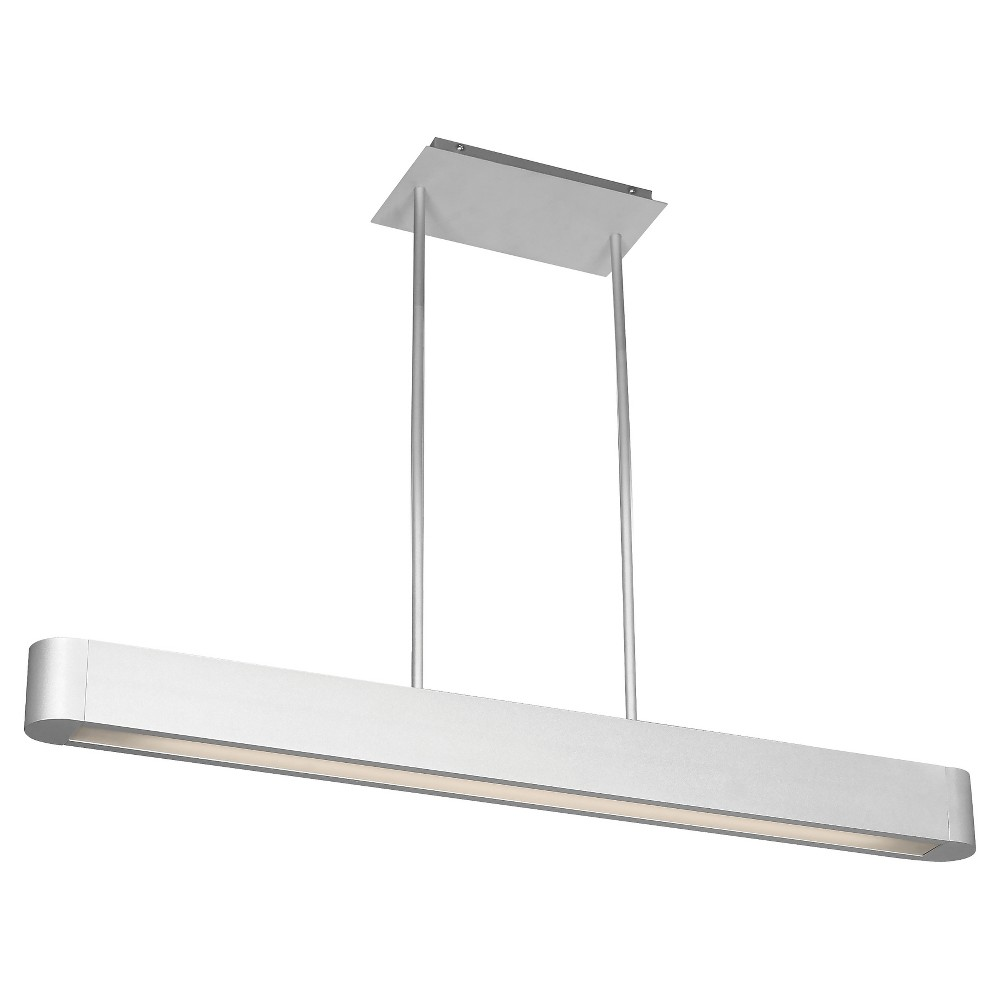 Indium Linear Fluorescent Pendant with Opal Glass Shade - Brushed Steel (Silver)