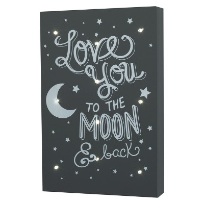 Little Love by NoJo Light Up Wall Art - Love You to the Moon and Back - Gray