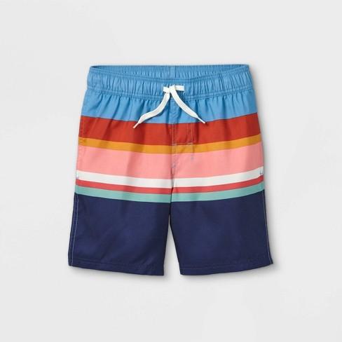 Boys' Striped Swim Shorts - Cat & Jack™ Blue - image 1 of 2