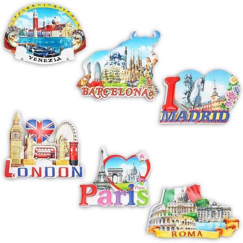 6 Pack European Cities Refrigerator Magnets Souvenir Set London Paris Roma Barcelona Venezia Madrid Target