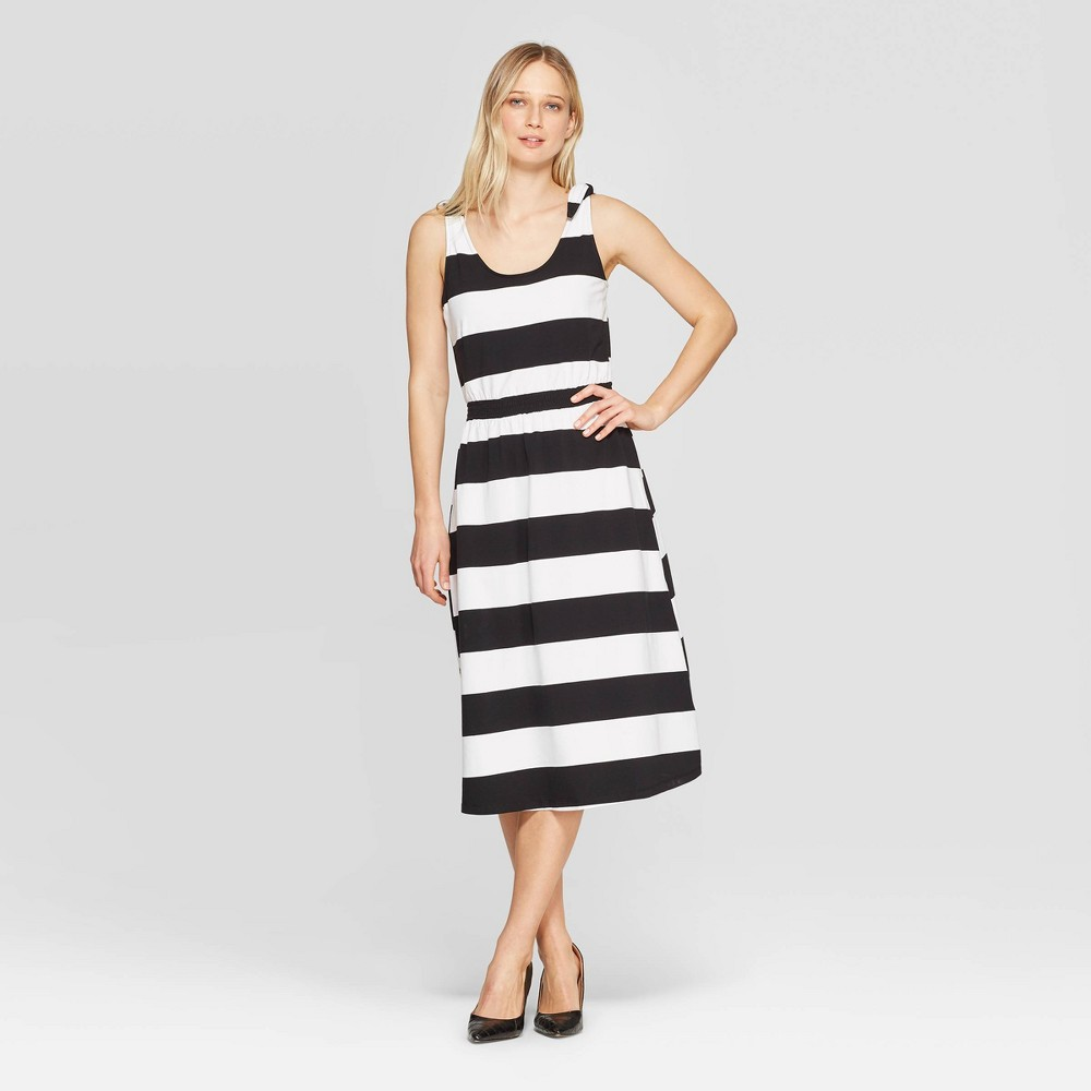 Women's Striped Sleeveless Scoop Neck Maxi Dress - Who What Wear Black/White S