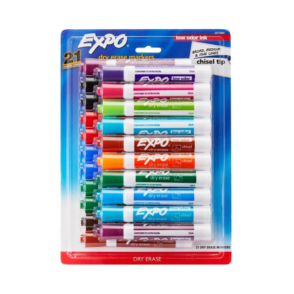 Expo 21pk Low Odor Dry Erase Markers Assorted Colors, Multi-Colored