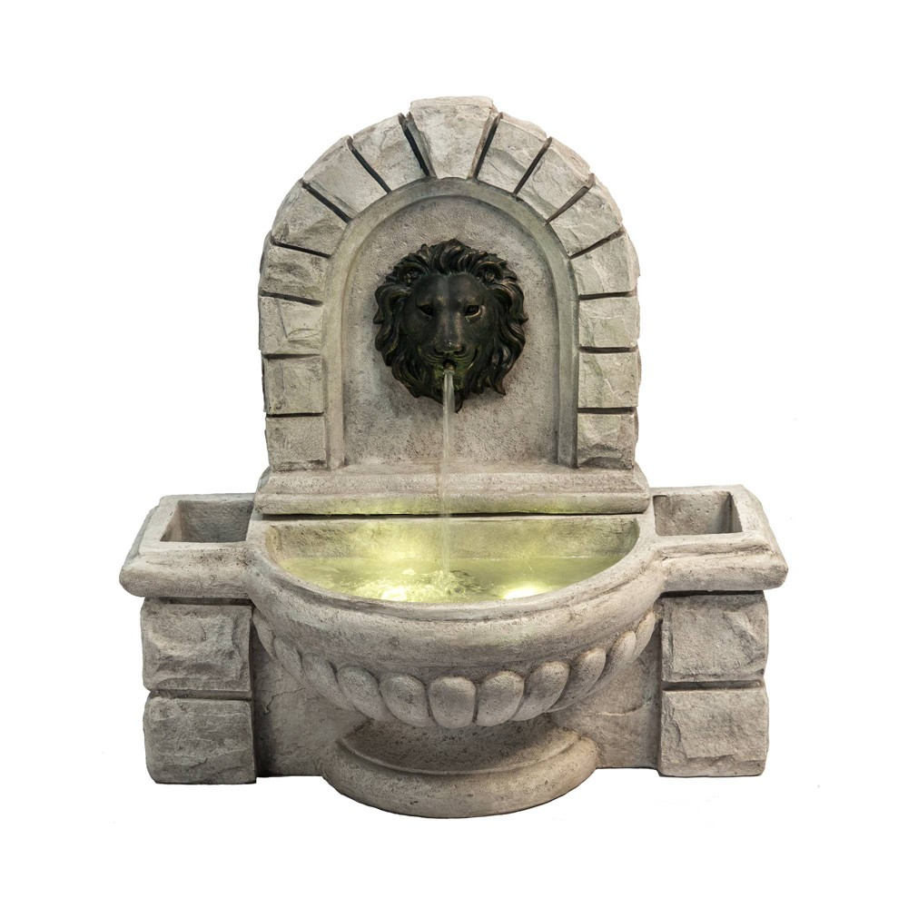"""Image of """"27.5"""""""" Lion Head Outdoor Wall Fountain with Planters and LED Light Gray - Peaktop, Beige"""""""